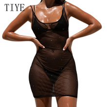 TIYE Sexy Transparent Mesh Mini Short Dress Sleeveless Hollow Out Back Lace Up Dress Summer Club Party Femme Clothing Dresses navy lace hollow out short sleeves mini dresses with lace up design