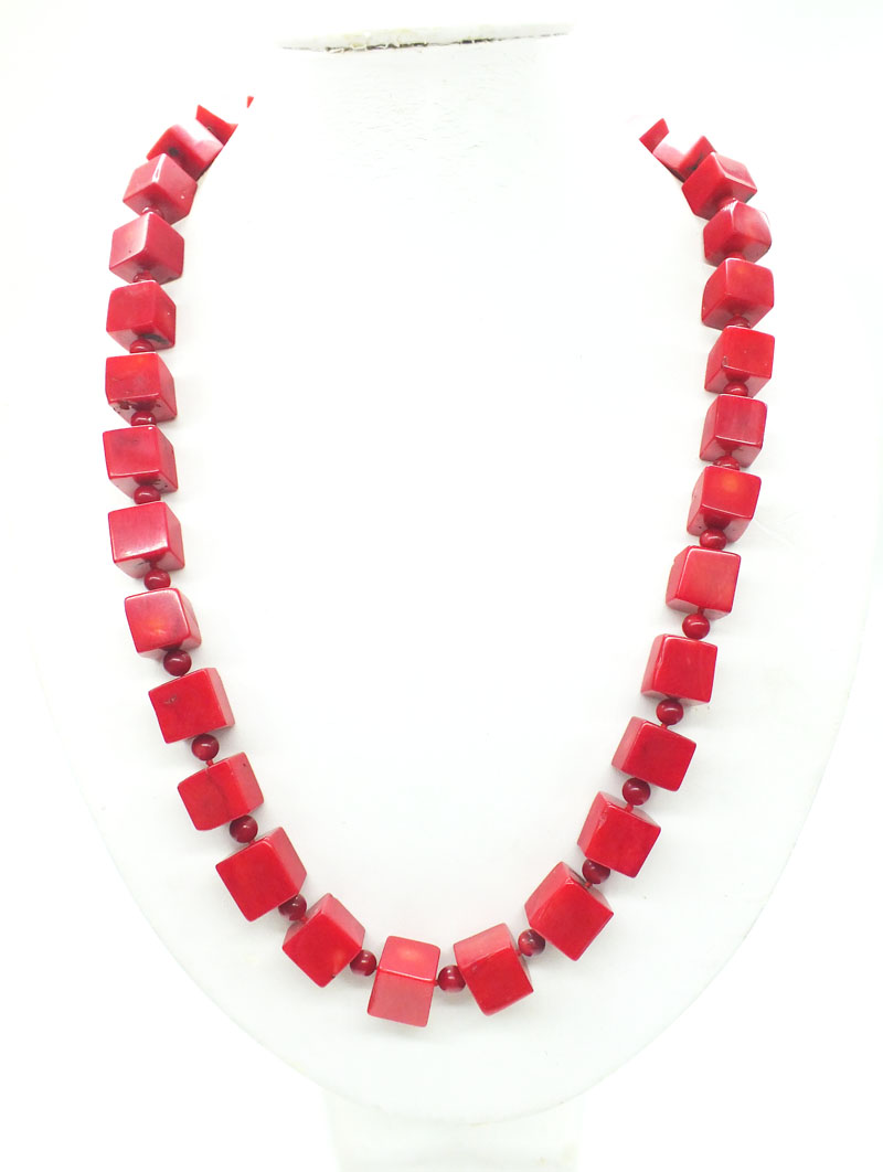 14MM huge square natural red coral necklace classic ladies bridal necklace last 24