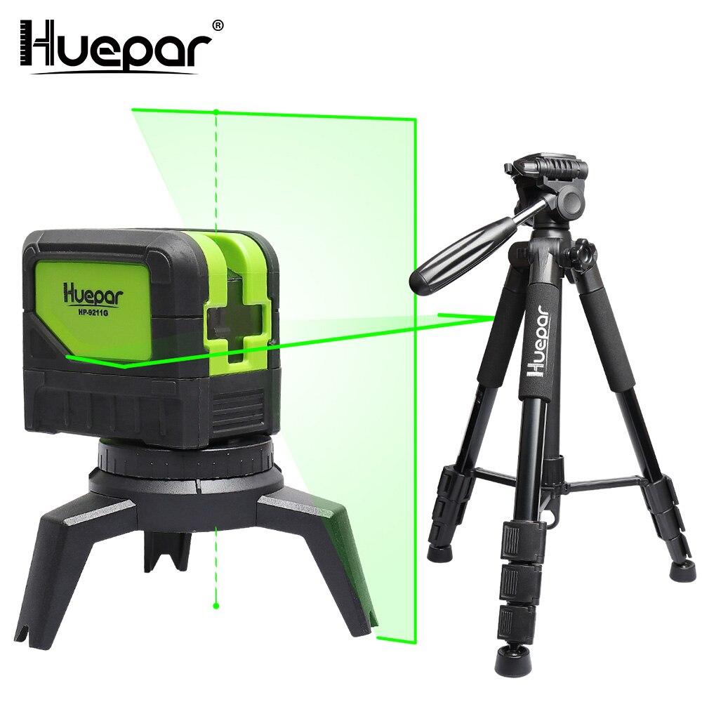 Huepar Vert Faisceau Laser Niveau 2 Croix Lignes 2 Points Professionnel 180 Degrés Auto-nivellement + Huepar Réglable Laser niveau Trépied