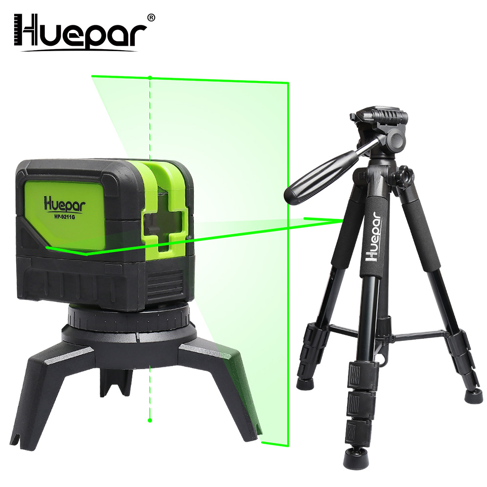 Huepar Green Beam Laser Level 2 Cross Lines 2 Points Professional 180 Degrees Self-leveling+Huepar Adjustable Laser Level Tripod firecore a8826d 2 lines laser level 1v1h1d cross self leveling red beam laser 0 28m tripod