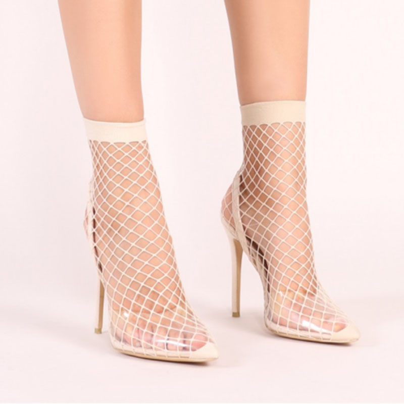 A-BUYBEA Women Pointed Toe Mesh Holes Sandals Sexy Summer Shoes Breathable Cool Spring OL Party High Heel Anckle Boots