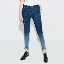 Ving Jean 2017 Summer Women Pant Fashion Casual Gradient Color Ripped Blue Color Calf-Length Jeans Trousers