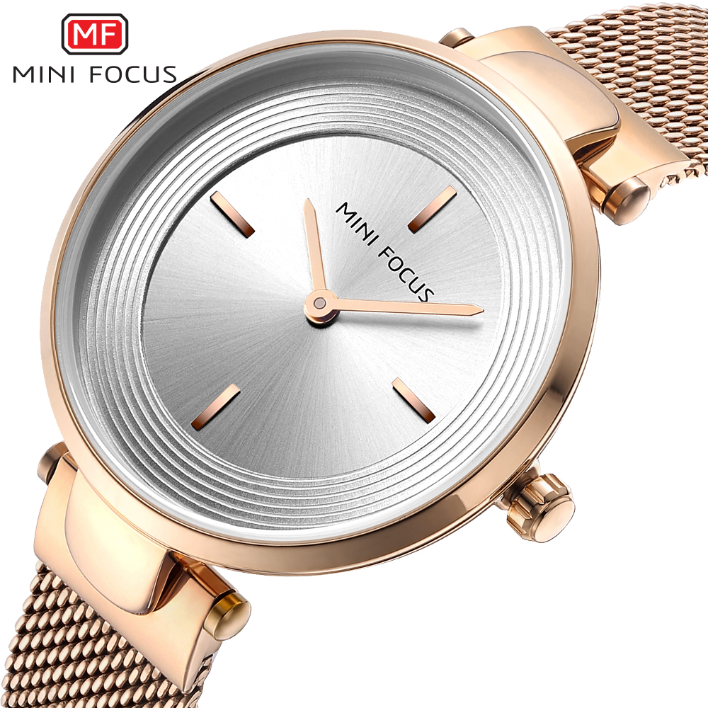 MINIFOCUS Rose Gold Luxury Women Watches Ultra Thin Simple Dress Ladies Wrist Watch Quartz Stainless Steel Bracelet Reloj Mujer