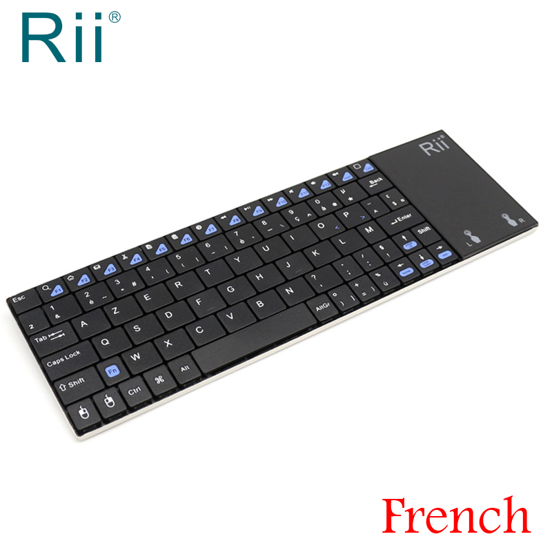 цена Original Rii i12 2.4G Wireless Mini French Keyboard with TouchPad for Laptop,Android TV Box,Mini PC France AZERTY Keyboard