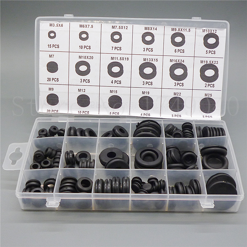 125pc Black Ring Rubber Grommets Firewall Hole Plug Set Electrical Wiring Harness Grommet Wire Sealing Gasket Assortment Kit For Car Truck Boat In Washers From Home Improvement On