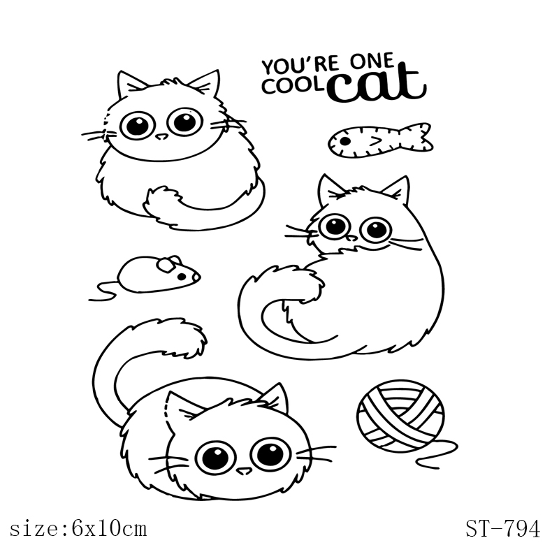 Cool Cat Lovely Cats Stamp Transparent Clear Stamps Silicone Seal for DIY Scrapbooking Card Making Photo Album Decoration Crafts