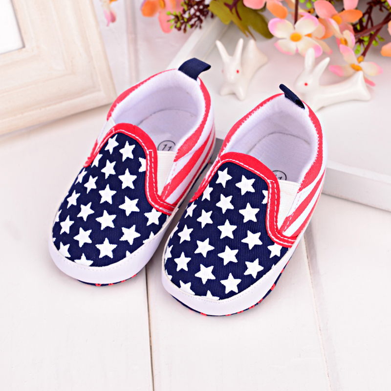 Slip on The Five star Flag Design Baby Boy Shoes Newborn Spring Autumn First Walkers Unisex Kids Soft Sole Baby Sport Sneaker in First Walkers from Mother Kids