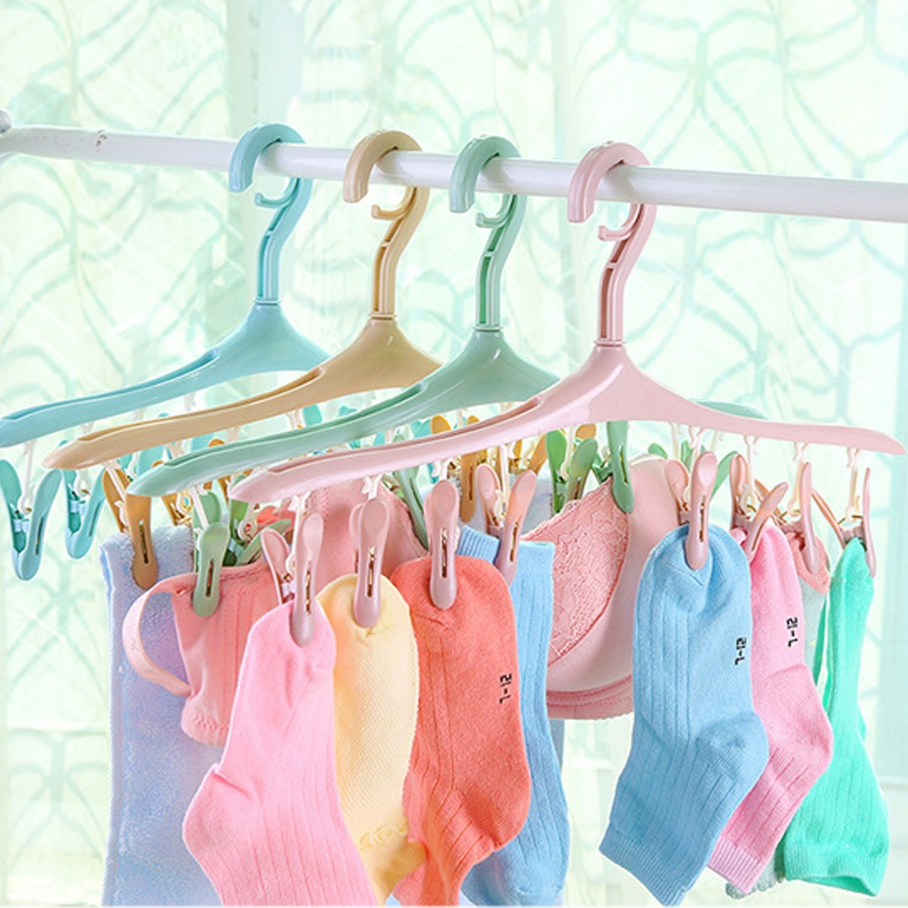 Multifunction Plastic Clothes Hanger Drying Rack With Clothespins For Socks Underwear Clothes Hanger With 8 Clips Pegs