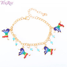 FENGRISE Rainbow Unicorn Bracelet Charm Alloy Birthday Party Girl Gifts For Kids Parties Deco