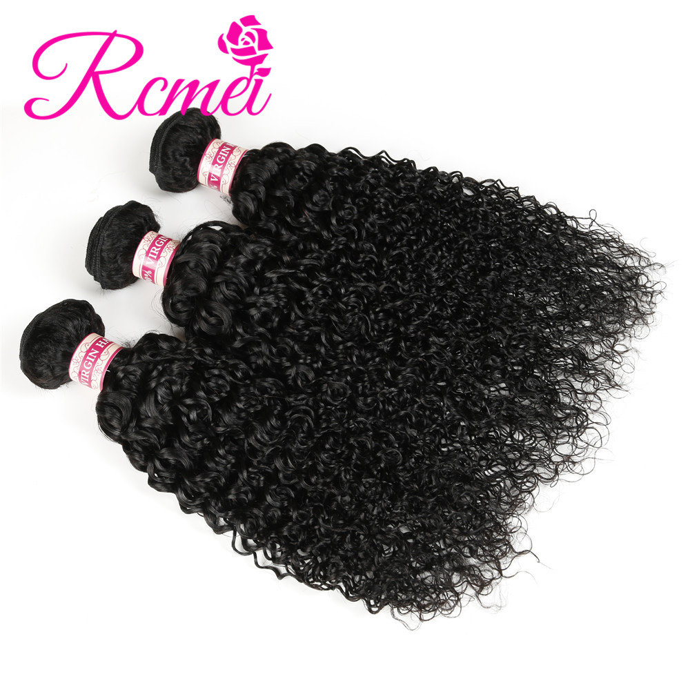 Rcmei Malaysian Unprocessed Virgin Hair Kinky Curly Bundles Natural Black 3PCS/Lot 100% Human Hair Weaving 12-30 Inch Extension