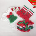2015 New Baby kids Christmas 4 Piece Set First Birthday newborm Xmas Tree Onesies Sets Bodysuit Headband Leg Warmer PP pants set