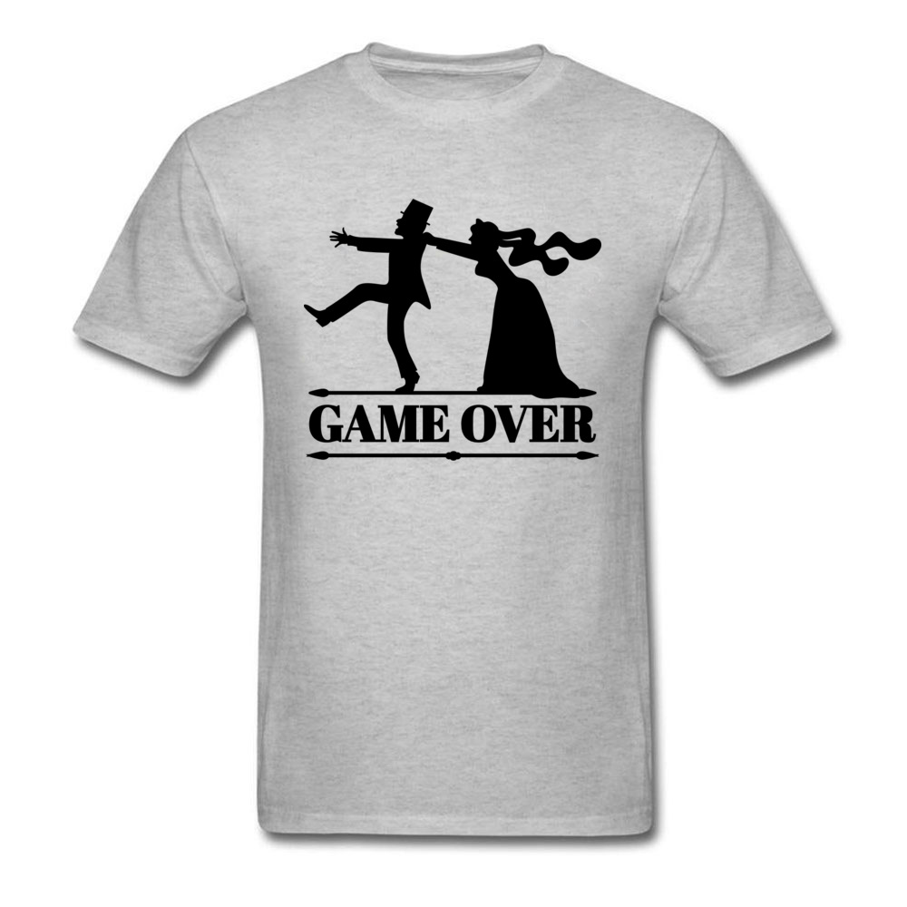 Game Over Tee Men Bride Top Groom Bachelor Clothing Funny Bachelorette Party T Shirts Grey Tshirt Summer Husband T-shirt Футболка