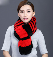 IANLAN Winter X Long Scarves Womens Thickening Neckerchiefs Real Rex Rabbit Fur Muffler Ladies Knitted Fur Scarves IL00044