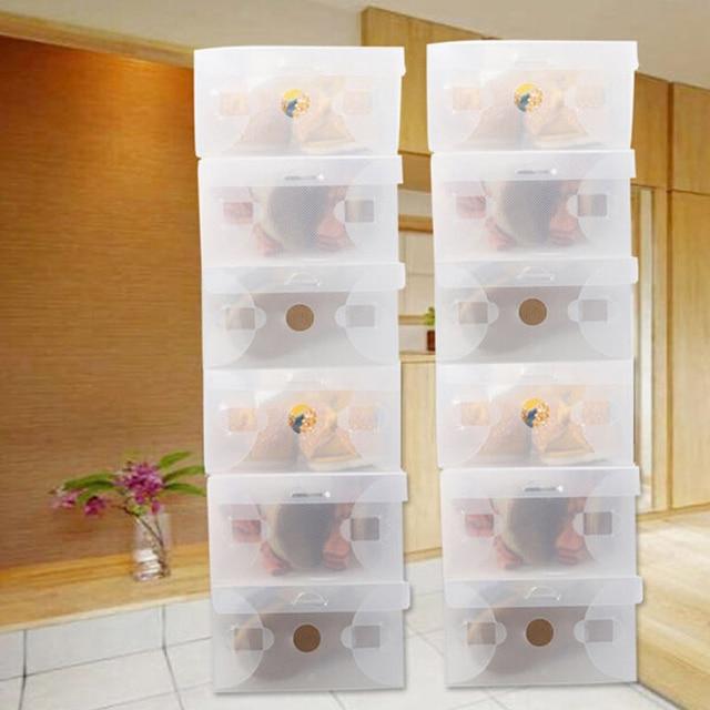 Hot 10Pcs Multifunction Transparent Plastic Shoe Boot Box Shoebox Drawer Storage Shoes Cabinet Rack Home Organizer Container