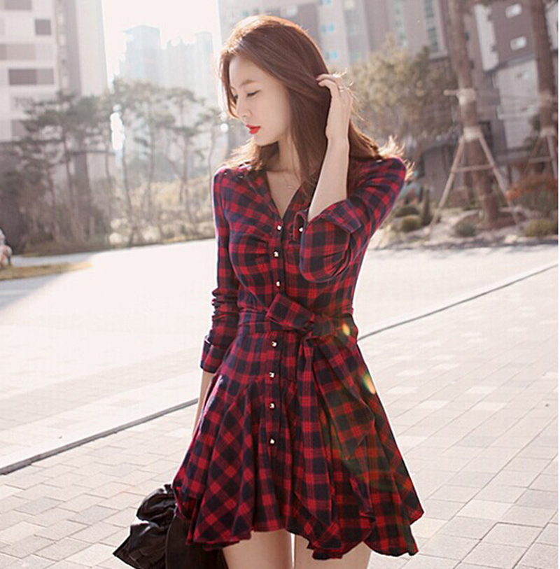 High Quality Casual Sexy Autumn Winter New Women Red Retro Long Sleeve Mini Dress Plaid Dress