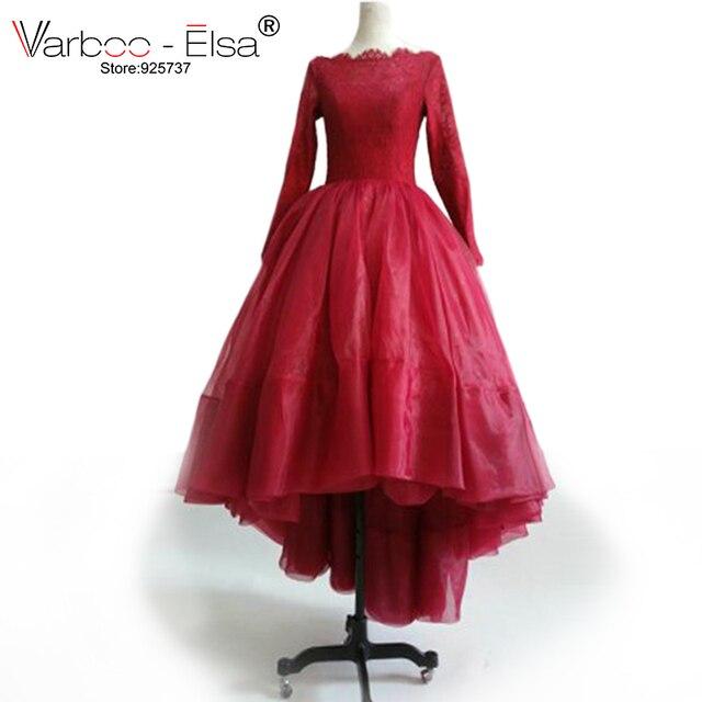 VARBOO ELSA Dress burgundy Evening Dress Long Sleeve lace Arabic Evening  Dress High Low Prom Gowns red Vestido De Festa e1aaced69a8d