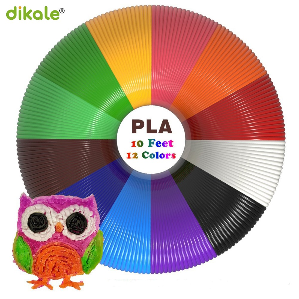Dikale 3m x 12 color 3D Printing Material 3D Pen Filament PLA 1.75mm Plastic Refill for 3D Impresora Drawing Printer Pen Pecil new arrival 3d printing pen with 100m 10 color or 200 meter 20 color plastic pla filaments 3 d printer drawing pens for kid gift