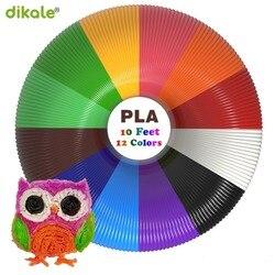 Material de impressão 3d dikale 3m x 12 cores, material 3d pen filamento pla 1.75mm refil plástico para impressora 3d desenho de impressora peil