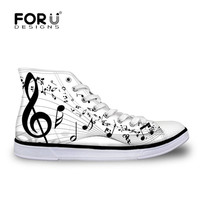 FORUDESIGNS Piano Music Notes Print 2018 New Women's Vulcanize Shoes Fashion Sneakers Ladies Casual High top Canvas Shoes Woman