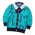 2017 primavera otoño nuevo estilo de los bebés niños suéter Knitting Cartoon kid boy chaquetas de los niños de la chaqueta