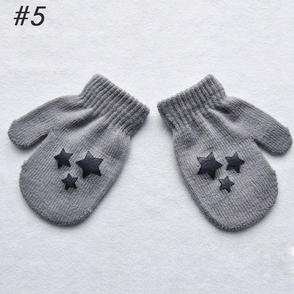 1 пара милых перчаток в горошек со звездами и сердечками для мальчиков и девочек, мягкие вязаные теплые перчатки для детей - Цвет: 5