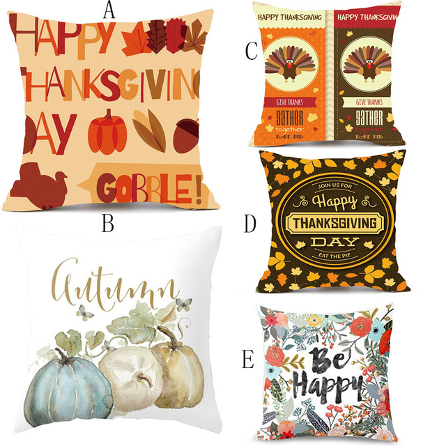 thanksgiving rectangle christmas halloween cover decor pillow case sofa waist throw pillowcases letter printed cushion cover - Halloween Thanksgiving Christmas