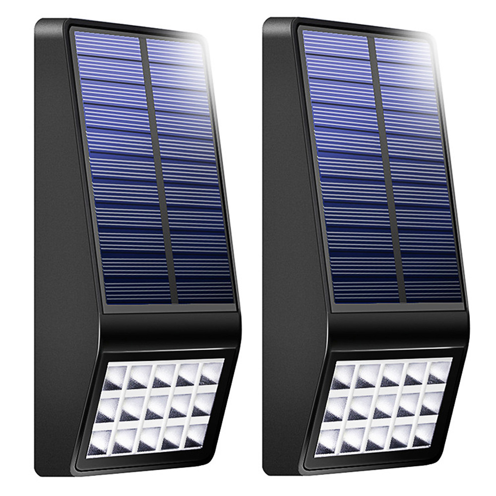2 Pack Waterproof Solar Powered Security Solar Lamp 15 LEDs Outdoor Solar Light for Garden Yard Wall Path Fence Deck Wall Lamp new 8pcs solar light lamp powered outdoor garden yard wall led light gutter fence wall lamp