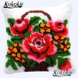 DIY Handmade poduszka haft cross stitch zestawy sprzedaż haftować robótki szydełkowanie dywan zestawy zatrzaskowy hak zestaw kwiat poszewka na poduszkę