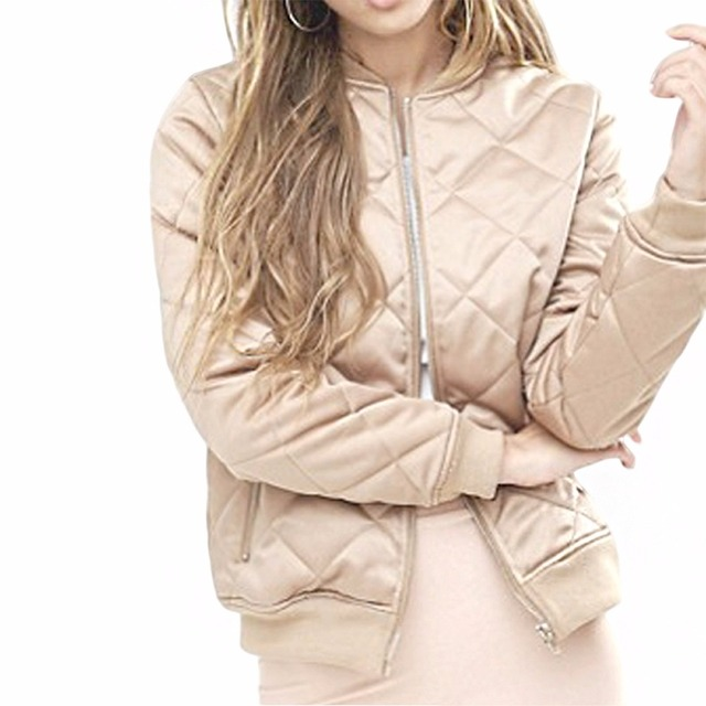 2016 Winter Women Solid Fashion Stand Collar Jacket Solid Long Sleeves Zipper Up Geometric Outerwear Beige Coat