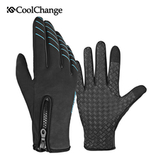 CoolChange Bicycle Gloves Winter Warm Windproof Outdoor Sports Touch Screen Cycling Gloves Anti-Slip MTB Bike Full Finger Gloves