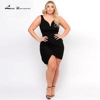 Lan Karswear 2019 Summer Bodycon women'Dress Sleeveless V neck Short Party Club Mini Bandage Dress Plus Size Dress XXXL Vestidos