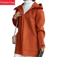 Winter Warm Cashmere Woollen Coats Womens Black Orange Real Sheep Wool Coat Long Hooded Loose Oversize Korean Overcoat Outerwear