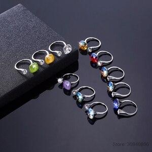 Image 3 - Lekani Kristallen Ringen 925 Individuele Diamanten Bezaaid Sterling Zilveren Ringen Vrouwen Multicolor Eenvoudige Ringen Gift
