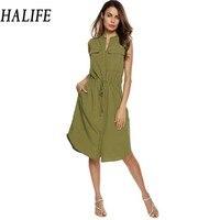 HALIFE Women Summer Shirt Dress Casual Sleeveless Pockets Drawstring Midi Army Green Dress Robe Femme Ete