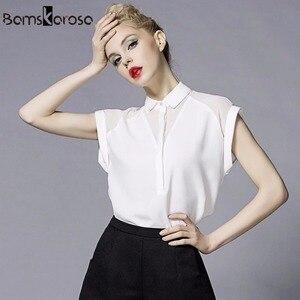 Image 1 - 2019 été Style Blouse femmes mode blanc en mousseline de soie élégante chemise femme travail porter bureau dames haut manches longues femmes vêtements