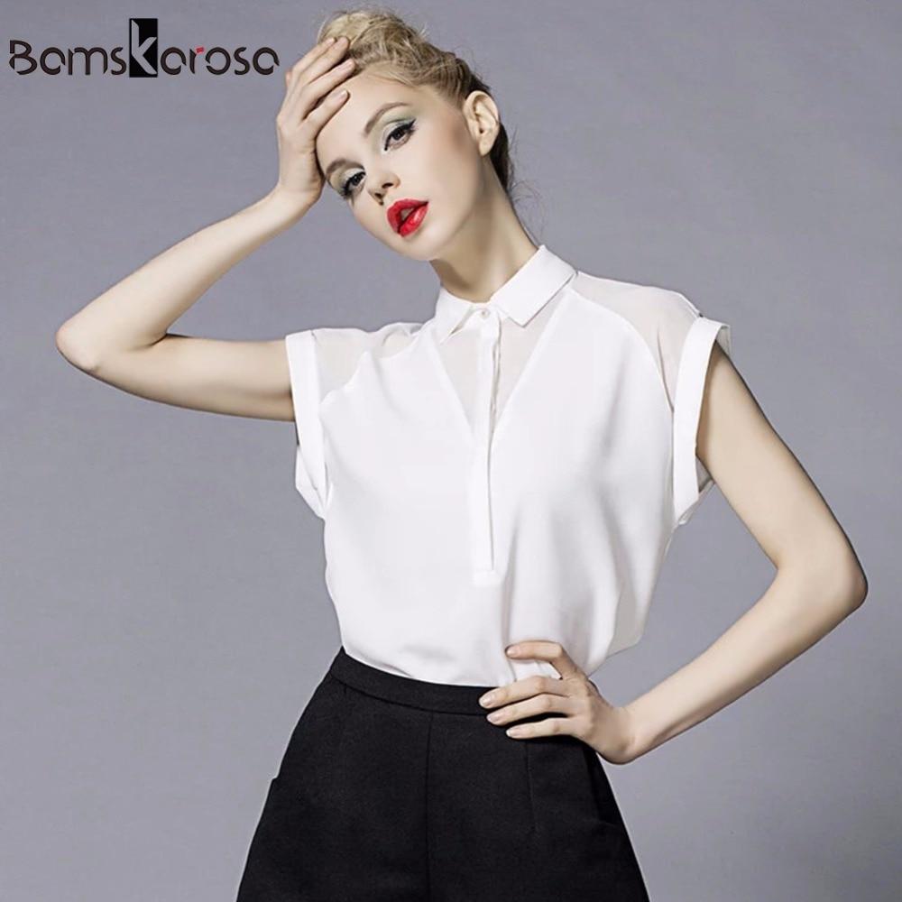 Летняя женская блузка из шифона с коротким рукавом. Модель 2016 года.