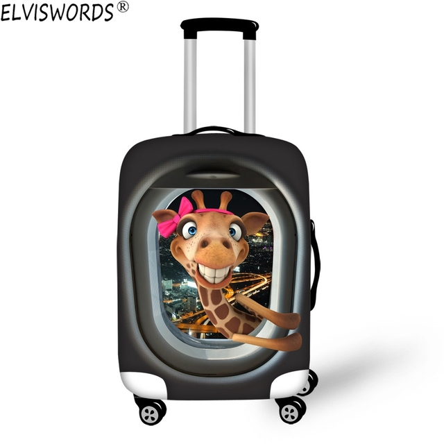 ELVISWORDS Giraffe Frog Luggage Accessories Elastic Waterproof Luggage Set Cover Bags 18-30 inch Suitcase Protective Dust Covers