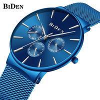 Unique Royal Blue Mens Watch Top Luxury BIDEN Iron Net Web Mesh Bracelet Watch Men Clock Man Ultra Thin Quartz Relogio Masculino