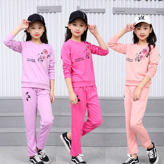 1737dcc5b 2018 Girls clothes Sets print rose pattern Children Tracksuit kid sport  clothing suit casual toddler baby sweatshirts+pants 2pcs