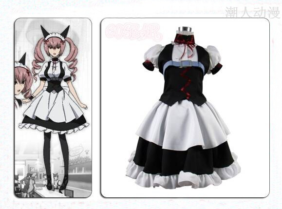 Steins Gate Faris Nyannyan Cosplay Costume White Black Dress Any Size