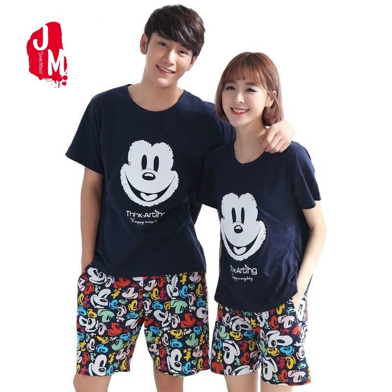 Summer Shorts Pajamas Set 100% Cotton Couple Round Neck Colorful Home Wear Lovers Man Woman Cartoon Cure Pyjamas 5XL