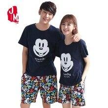 Summer Shorts Pajamas Set 100% Cotton Couple Round Neck Colorful Home Wear Lovers Man Woman Cartoon Cure Pyjamas 5XL