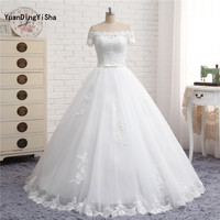 Real Photo A Line Boat Neck Lace Up Sweep Train Wedding Dress With Bow Sashes 2017