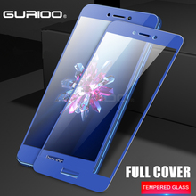 GURIOO Full cover Tempered Glass For HUAWEI honor 8 lite p8lite 2017 screen protective cover black White gold blue case 9h