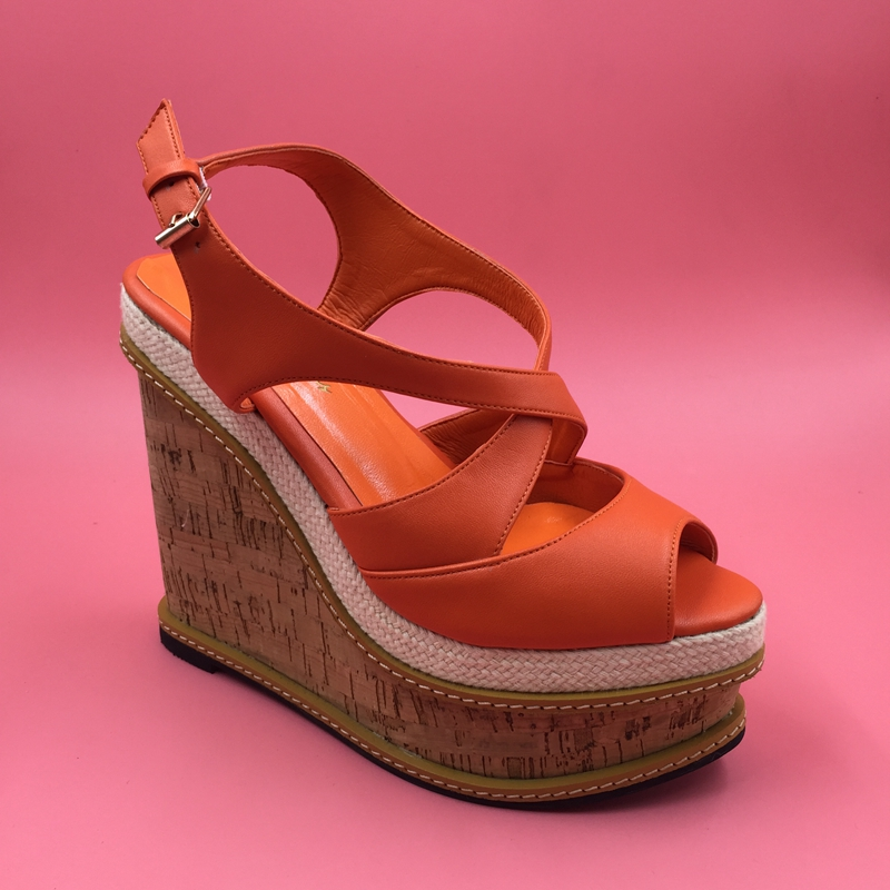 Orange Women Sandals High Heel Wedges Comfortable Cork Sandals Casual Open Toe Shoes Women With Platform Sandal Women hot 2018 summer new fashion women sandals wedges shoes high heel sandals platform open toe buckle casual shoes