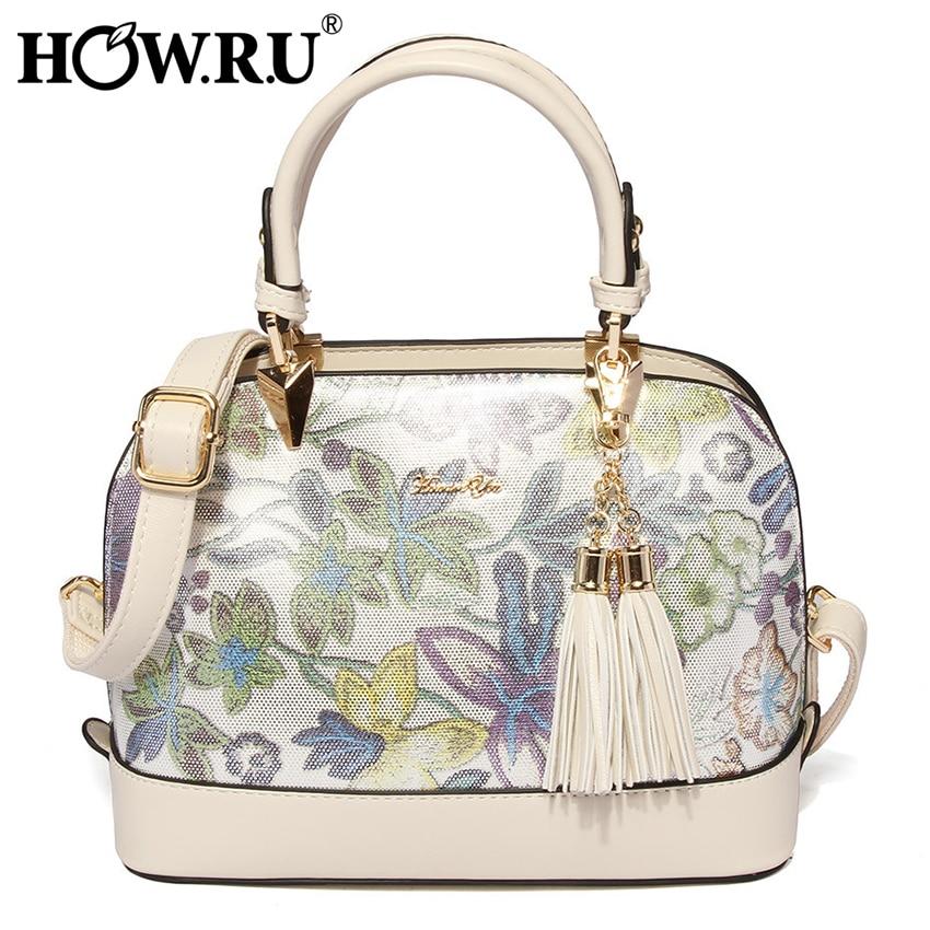HOW R U Fashion Women Leather Shell Handbag Female Fringe Shoulder Bags Large Capacity Tote Bag