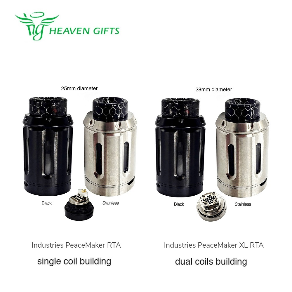 New Heavengifts Squid Industries PeaceMaker RTA 4ml 25mm Diameter VS PeaceMaker XL RTA 5ml 28mm Diameter