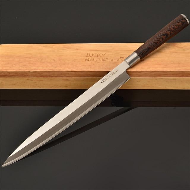 Hot Japanese 9.5''Kitchen Knife Sashimi Sushi Salmon Filleting Knives Germany Steel Cooking Chef Wenge Handle FREE SHIPPING 11.1