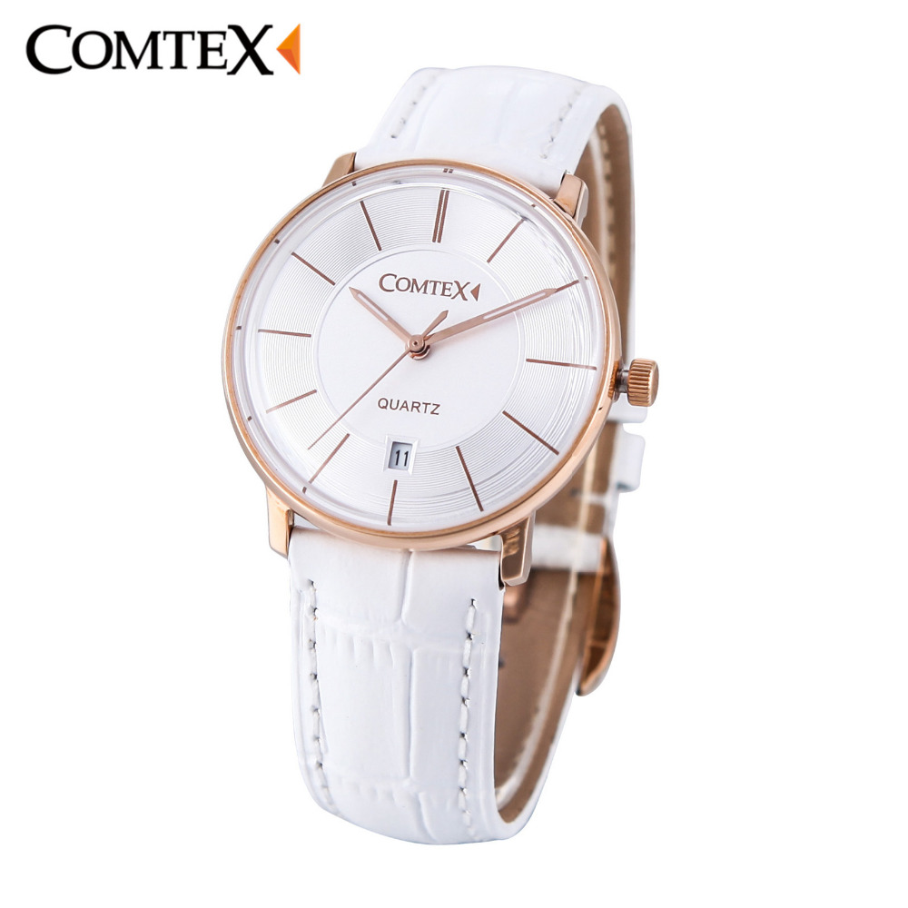 COMTEX Women Watch Woman Simple Dial with Date Sapphire Spherical Glass White Leather Band Waterproof Quartz Ladies Watches gift quartz watch with small diamond dots indicate leather watch band hearts pattern dial for women