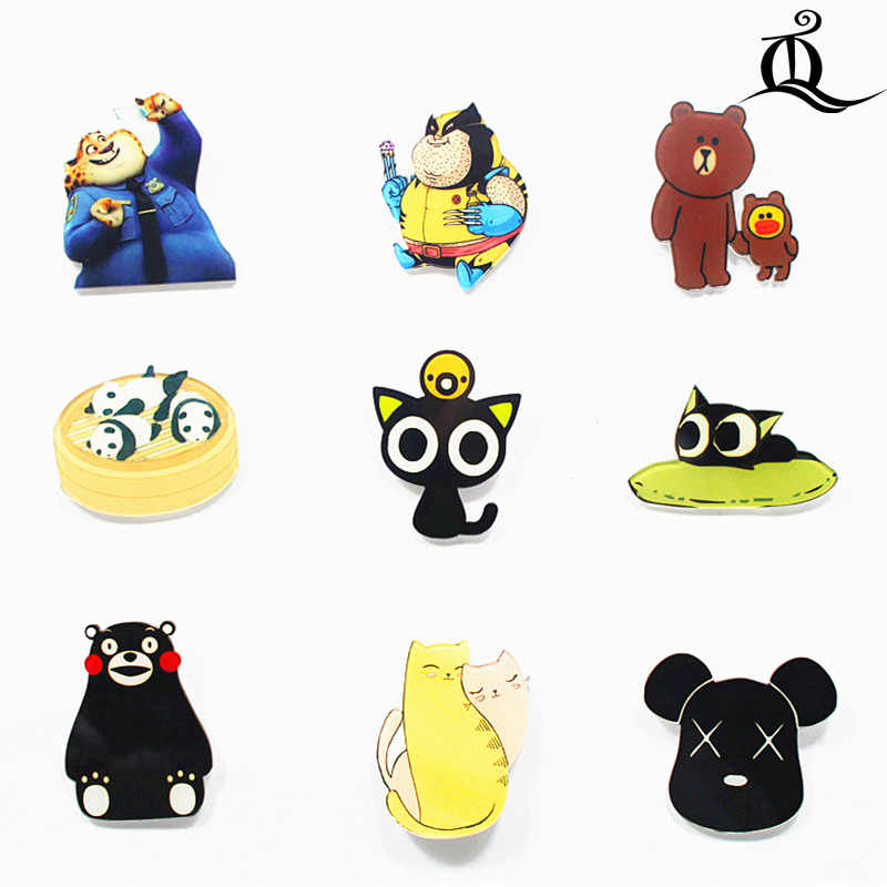 HOT mix 1 PC Hot Kemeja Lucu Kartun bros Akrilik Dekorasi Buah Hewan panda beruang Bros Pins Tas Packbag Broch, N18